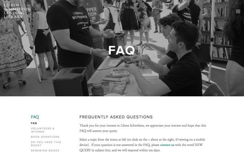 Screenshot of FAQ Page librosschmibros.org - FAQ — Libros Schmibros Lending Library - captured July 14, 2016