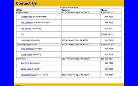 Screenshot of Contact Page spurbulldogs.com - Contact Us - captured Oct. 6, 2014