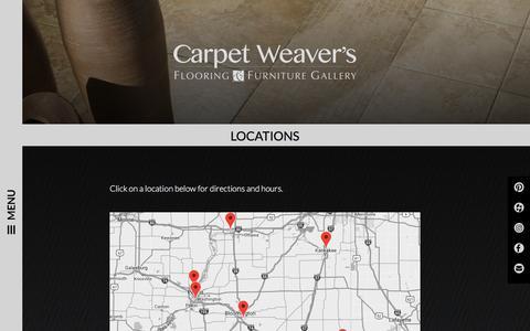 Screenshot of Locations Page carpetweaversflooring.com - Carpet Weaver's Flooring | Contact Us | Carpet Weaver's - captured Sept. 26, 2018