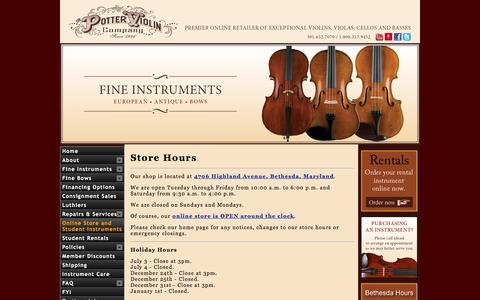 Screenshot of Hours Page pottersviolins.com - The Potter Violin Company | Fine Bowed String Instruments and Accessories - captured Jan. 20, 2016