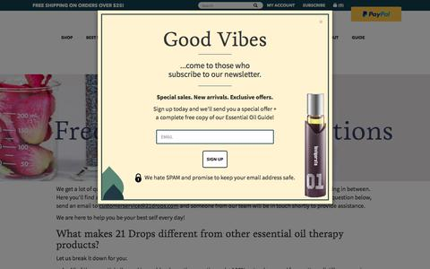Screenshot of FAQ Page 21drops.com - Frequently Asked Questions                         – 21 drops Essential Oils - captured July 23, 2019