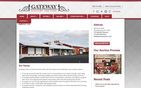 Screenshot of About Page gatewayauction.com - About Us | Gateway Gallery Auction - captured Oct. 28, 2016
