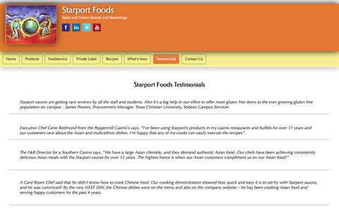 Screenshot of Testimonials Page starportfoods.com - Starport Testimonials and how to become a Wok Star. - captured Oct. 7, 2014