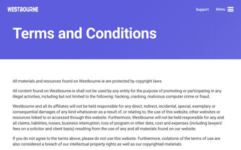 Screenshot of Terms Page westbourne.ie - Terms of Use - Westbourne - captured Oct. 20, 2018