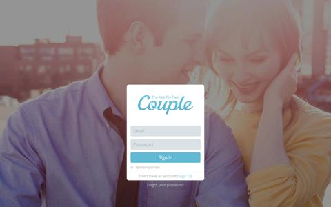 Screenshot of Signup Page Login Page couple.me - Couple Login - captured Oct. 22, 2014