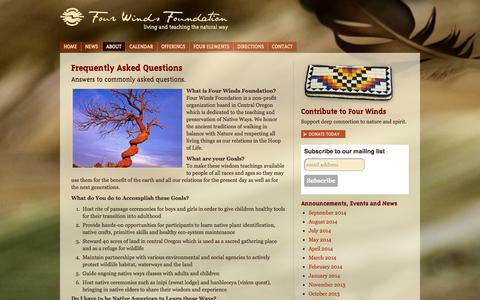 Screenshot of FAQ Page fwfoundation.com - Frequently Asked Questions | Four Winds Foundation - captured Oct. 6, 2014