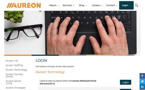 Screenshot of Login Page aureon.com - Aureon Client Login - captured Oct. 6, 2017
