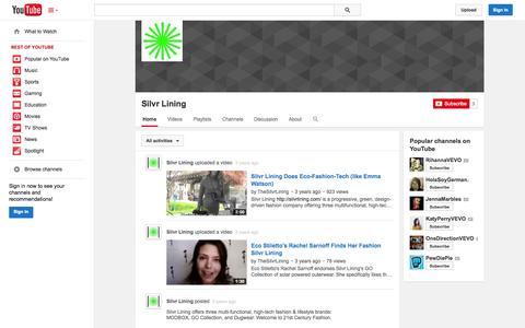 Screenshot of YouTube Page youtube.com - Silvr Lining  - YouTube - captured Nov. 5, 2014