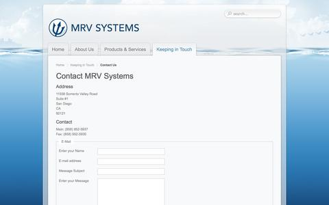 Screenshot of Contact Page mrvsys.com - Contact MRV Systems - captured Oct. 3, 2014