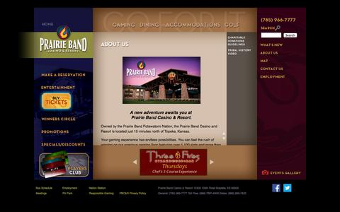 Screenshot of About Page pbpgaming.com - About Us | Casino, Resort, Mayetta, Kansas, Topeka, Kansas City - captured Oct. 2, 2014