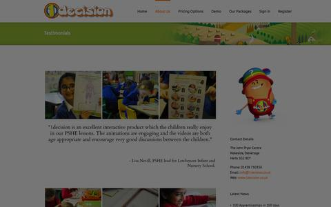 Screenshot of Testimonials Page 1decision.co.uk - Testimonials - 1decision.co.uk - PSHE - The Power of Choice - captured Oct. 27, 2014