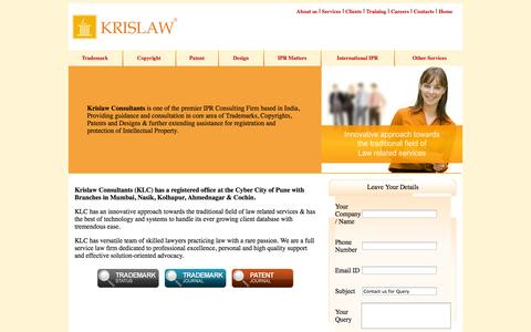 Screenshot of Home Page krislawip.com - Krislaw Consultants - Trademark, Copyright, Patent, Design, IPR Matters, International IPR, Formation of Company, Pvt, Ltd, Registration of Firms, Partnership, Registration of Trusts, Society, Association, ISO Certification - captured Oct. 6, 2014