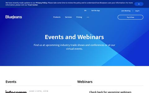 Events and Webinars | BlueJeans - Business Video Communications