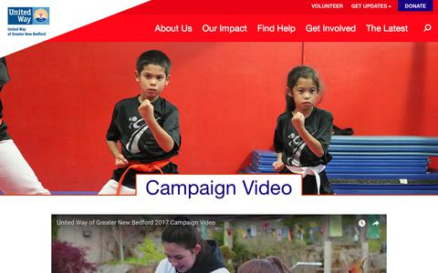 Screenshot of About Page unitedwayofgnb.org - Campaign Video - United Way of Greater New Bedford - captured Oct. 19, 2017