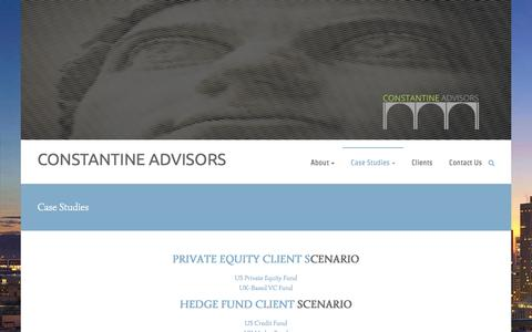 Screenshot of Case Studies Page constantineadvisors.com - Case Studies – CONSTANTINE ADVISORS - captured July 15, 2016