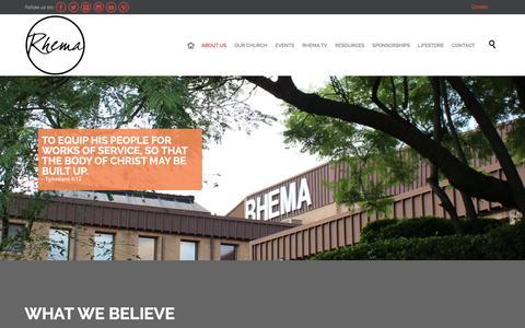 Screenshot of About Page rhema.co.za - WHAT WE BELIEVE - Rhema Bible Church - captured Jan. 23, 2016