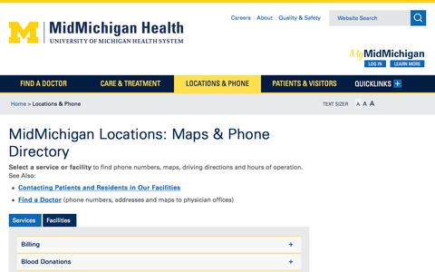Screenshot of Contact Page Locations Page midmichigan.org - Locations & Phone - MidMichigan Health - captured Feb. 13, 2016