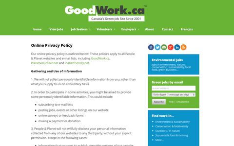 Screenshot of Privacy Page goodwork.ca - Environmental Jobs, Green Jobs, Conservation Jobs | GoodWork.ca - captured Nov. 11, 2016