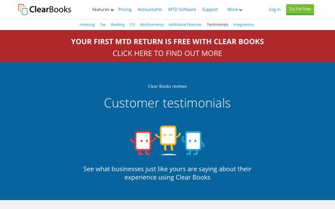 Screenshot of Testimonials Page clearbooks.co.uk - Clear Books Reviews - Customer Testimonials | Clear Books™ - captured Feb. 1, 2019