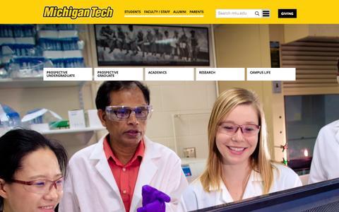 Screenshot of Home Page mtu.edu - Michigan Technological University - captured Jan. 10, 2016