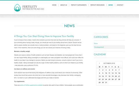 Screenshot of Press Page fertilitynutraceuticals.com - News from Fertility Nutraceuticals - captured Oct. 10, 2018