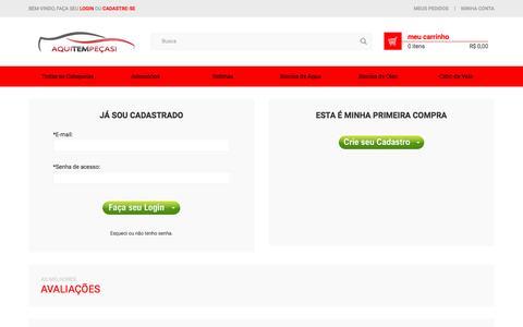 Screenshot of Login Page aquitempecas.com.br - Identificação - AutoPecas em Sao Paulo, Brasil: Freio, Ignicao, Radiador, Suspensao e Central Multimidia. - captured Sept. 8, 2016