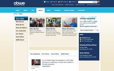 Screenshot of About Page abwe.org - ABWE | Association of Baptists for World Evangelism | Baptist Missions Agency - captured Sept. 30, 2014