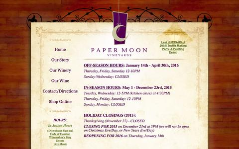 Screenshot of Hours Page papermoonvineyards.com - Paper Moon Vineyards | Hours - captured Dec. 7, 2015