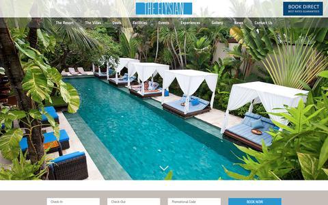 Screenshot of Home Page theelysian.com - Private Luxury Villa in Seminyak | The Elysian Resort Bali - captured Nov. 12, 2019