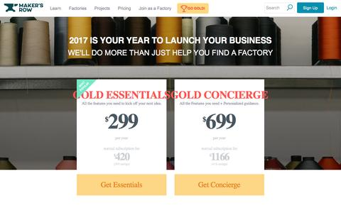 Screenshot of makersrow.com - Make 2017 Your Golden Year| Maker's Row - Manufacturing, Sourcing, Production Education - captured Jan. 2, 2017