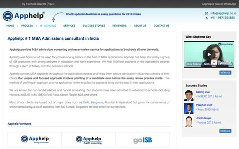 Screenshot of About Page apphelp.co.in - MBA admissions consultant India, MBA admissions consultant delhi, mba admissions consulting services, Essay editing service - captured Oct. 8, 2017