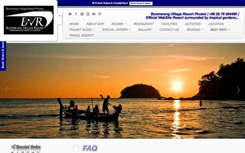 Screenshot of FAQ Page phuket-boomerang.com - Frequently Asked Questions by guests of Boomerang Village Resort - captured Oct. 5, 2014
