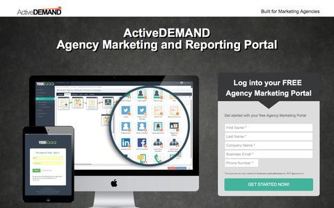 Screenshot of Landing Page activedemand.com - Your Agency Portal - captured Nov. 28, 2016