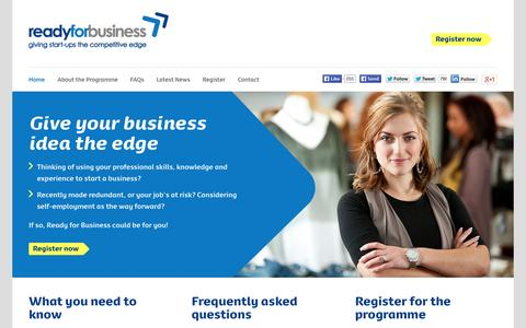 Screenshot of Home Page startupedge.co.uk - Ready for Business - Business support for start-ups - captured Oct. 6, 2014