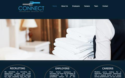 Screenshot of Home Page connectrestaurantservices.com - Hospitality Recruiting | United States | Connect Restaurant Services - captured Sept. 29, 2018