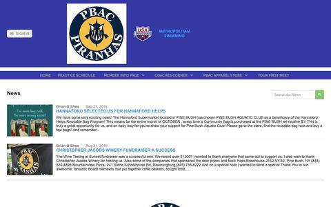 Screenshot of Press Page teamunify.com - Pine Bush Aquatic Club - News - captured Oct. 30, 2018