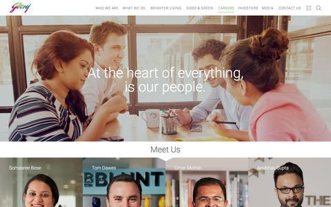 Screenshot of Jobs Page godrej.com - Godrej | Careers | Meet Us | Join our Team - captured July 15, 2016