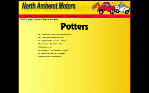 Screenshot of FAQ Page northamherstmotors.com - Auto Body Massachusetts, Pelham, Whately, Amherst, South Amherst, Sunderland| Amherst - captured Sept. 30, 2014