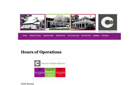 Screenshot of Hours Page claringtonmuseums.com - Hours of Operations | Museums and Archives of Clarington - captured Jan. 28, 2016
