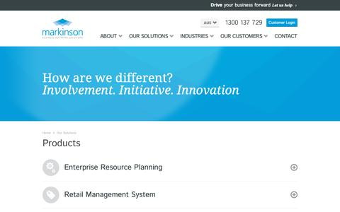 Screenshot of Products Page markinson.com.au - Solutions | Enterprise Resource Planning (ERP) Software Solutions, ERP Systems, ERP Software, Point of Sale Software, Retail Management, CRM Software, Business Process Management,  Inventory Management Software - captured Oct. 16, 2018