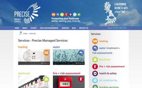Screenshot of Services Page preciseuk.co.uk - Services - Precise Managed Services - captured Oct. 6, 2014