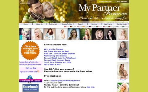 Screenshot of Support Page mypartnerforever.com - MyPartnerforever | Contact Us - captured Nov. 3, 2014