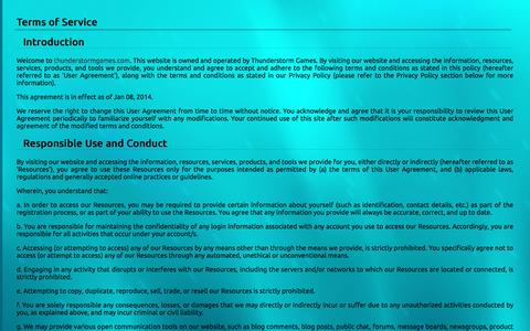 Screenshot of Terms Page thunderstormgames.com - Terms of Service - Thunderstorm Games - captured Nov. 24, 2016