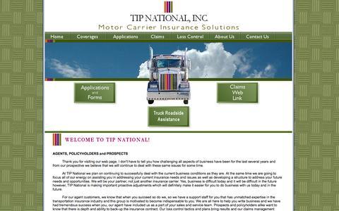 Screenshot of Home Page tipnational.com - TIP National, Inc. - captured Oct. 9, 2014