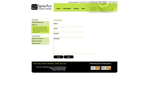 Screenshot of Contact Page ignisart.com - IgnisArt Creative Design - Contact - captured Oct. 4, 2014