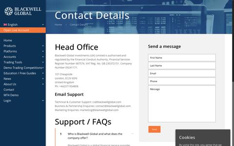 Screenshot of Contact Page FAQ Page blackwellglobal.com - Contact Details - Blackwell Global - captured Oct. 6, 2017