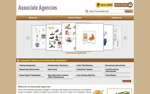 Screenshot of Home Page surveyinginstrumentindia.com - Manufacturer of Testing Equipment & Construction Machinery by Associate Agencies, Ahmedabad - captured Nov. 21, 2016