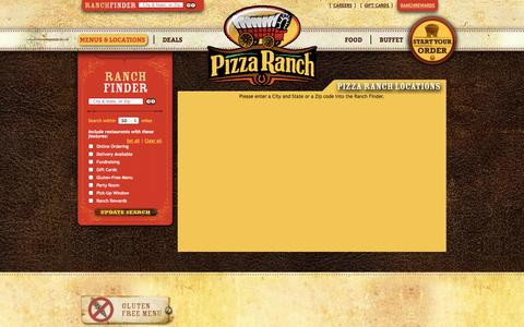 Screenshot of Locations Page pizzaranch.com - Find the Nearest Location for Legendary Food | Pizza Ranch - captured Sept. 19, 2014