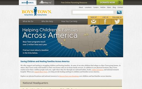 Screenshot of Locations Page boystown.org - Boys Town - Saving Children, Healing Families | Locations - captured Sept. 19, 2014