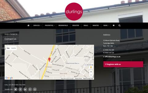 Screenshot of Contact Page durlings.co.uk - Contact Us - Durlings - captured Jan. 12, 2016